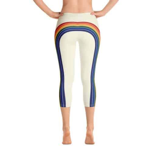 Treaja® Women's Vintage Rainbow Side Striped Capri Leggings