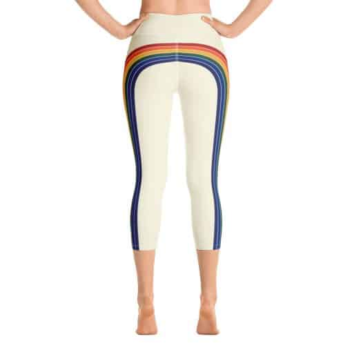 Women's Vintage Rainbow Side Striped Yoga Capri Leggings by Treaja® | 70s Style High Waisted Capri Leggings for Women