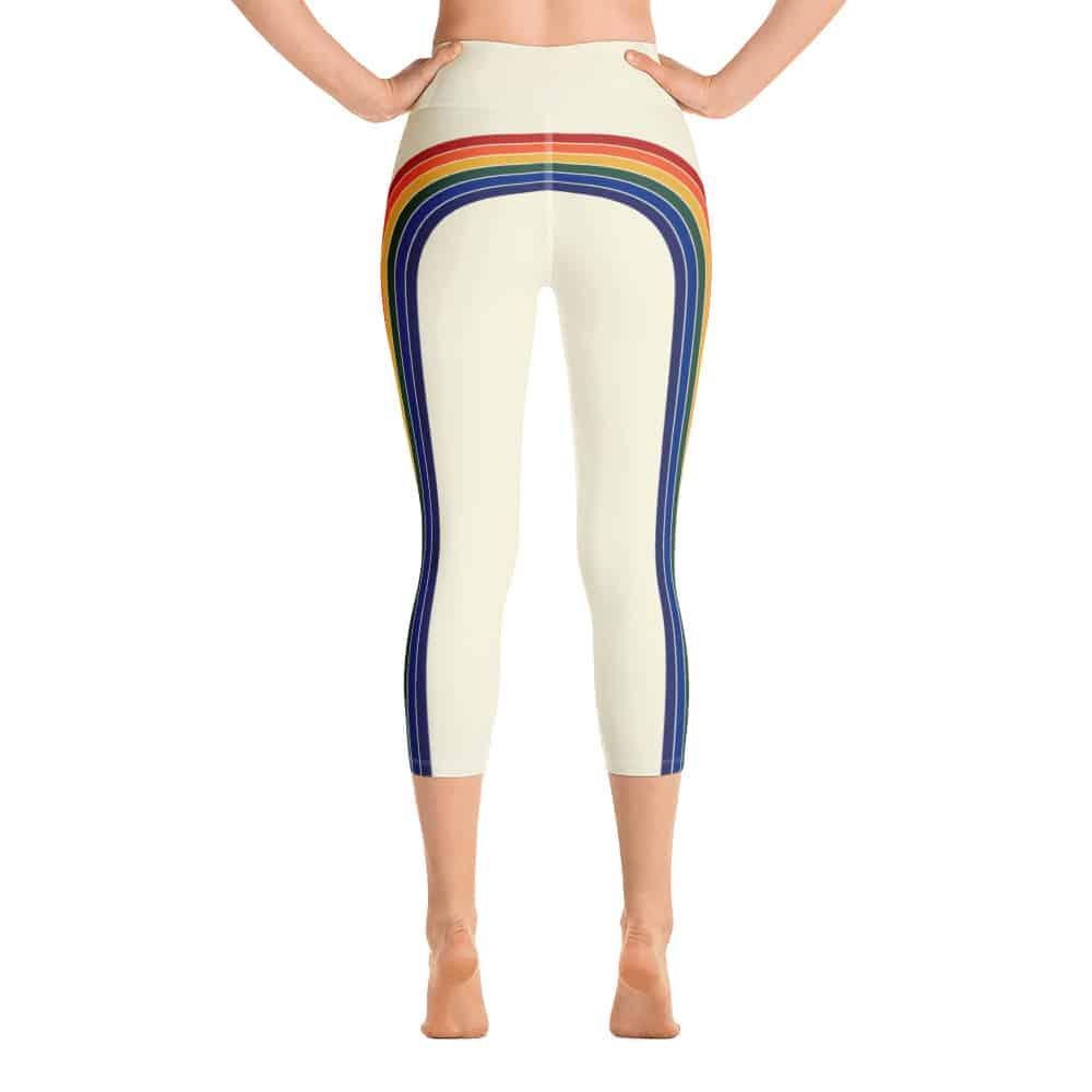Women's Vintage Rainbow Side Striped Yoga Capri Leggings by Treaja®   70s Style High Waisted Capri Leggings for Women