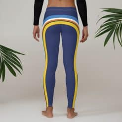 Women's Vintage Blue Side Striped Leggings by Treaja® | Vintage Side Stripe 70s Style Leggings for Women