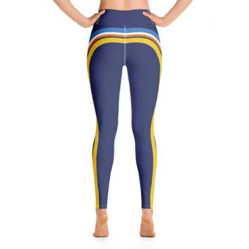 Women's Vintage Blue Side Striped Yoga Leggings by Treaja® | 70s Style Yoga Leggings for Women