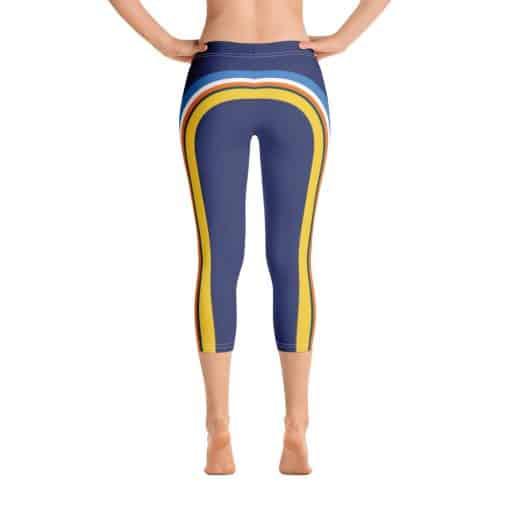 Treaja® Women's Vintage Blue Side Striped Capri Leggings
