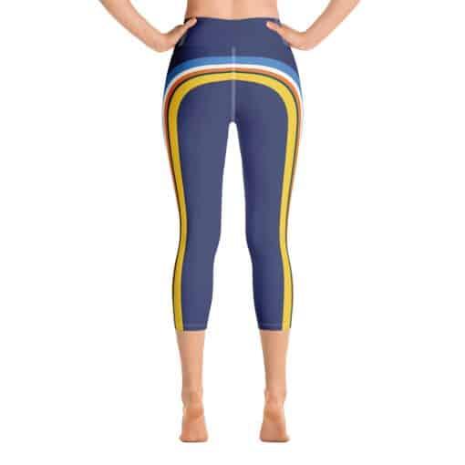 Women's Vintage Blue Side Striped Yoga Capri Leggings by Treaja® | Vintage Striped Yoga Capri Leggings for Women