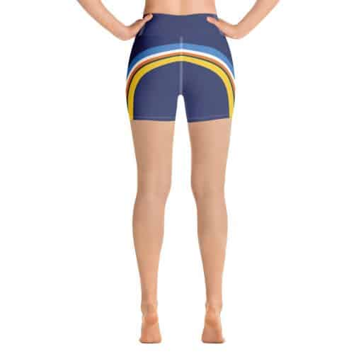 Women's Vintage Blue Side Striped Yoga Shorts by Treaja® | Side Stripe 70s Style High Waisted Shorts for Women