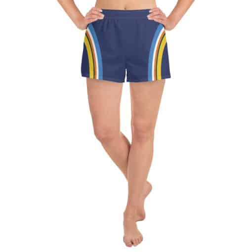 Women's Vintage Blue Side Striped Athletic Short Shorts by Treaja® | 70s style Side Stripe Athletic Shorts for Women