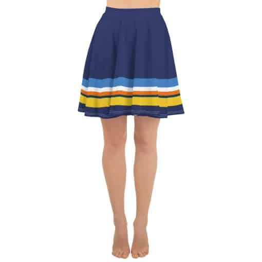 Vintage Blue Striped Skater Skirt by Treaja®