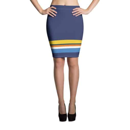 Vintage Blue Striped Pencil Skirt by Treaja®