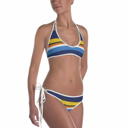 Vintage Blue Striped Bikini by Treaja®