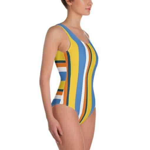 Women's Vintage Yellow Striped One-Piece Swimsuit by Treaja®