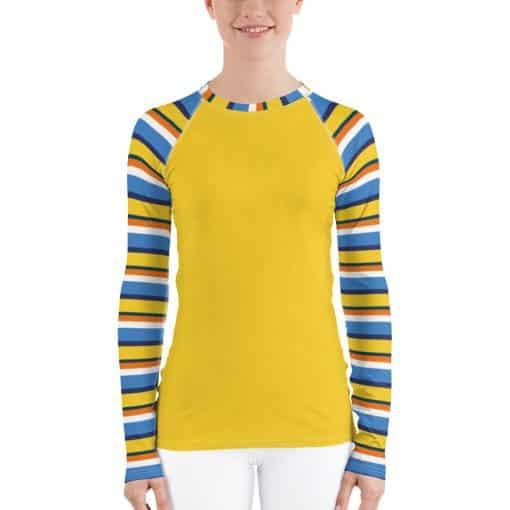 Women's Vintage Yellow Striped Rash Guard by Treaja® | 70s Style Rash Guard for Women
