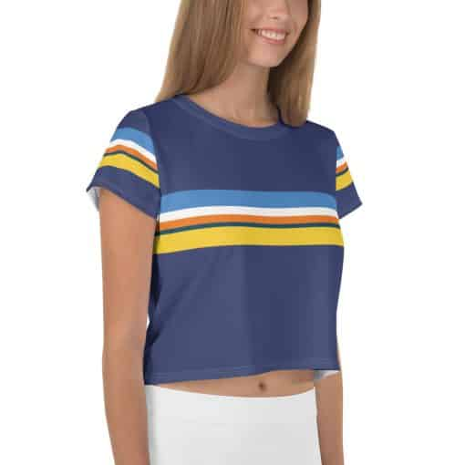 Women's Vintage Blue Striped Crop Top by Treaja® | 70s style the vintage style Crop Tee for Women