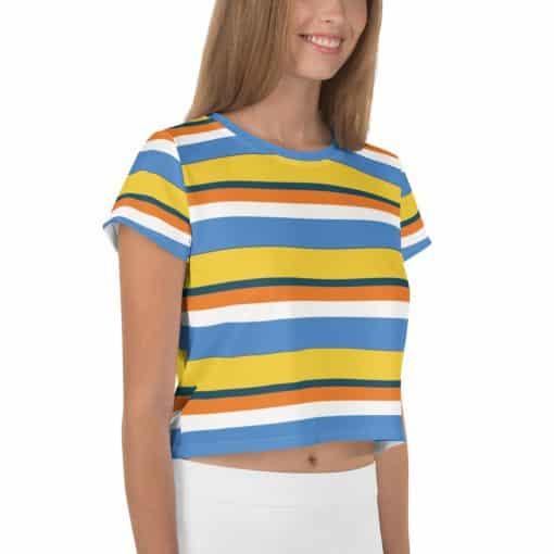 Women's Vintage Yellow Striped Crop Top by Treaja® | 70s Style Crop Tee for Women