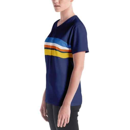 Women's Vintage Blue Striped V-neck T-Shirt by Treaja® | 70s Style V-neck T-Shirt for Women