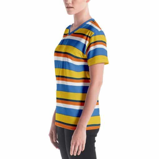 Women's Vintage Yellow Striped V-neck T-Shirt by Treaja® | 70s Style V-neck T-Shirt for Women
