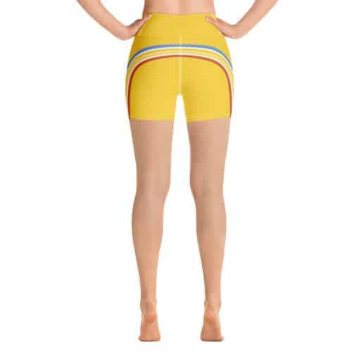 Women's Vintage Yellow Side Striped Yoga Shorts by Treaja® | Side Stripe 70s Style High Waisted Shorts for Women