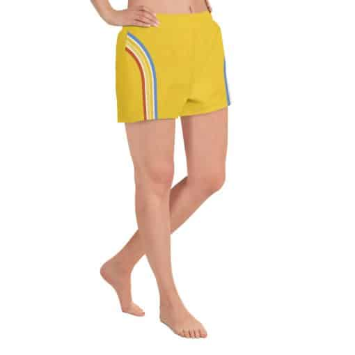 Women's Vintage Yellow Side Striped Athletic Short Shorts by Treaja® | Side Stripe 70s Style Athletic Shorts for Women