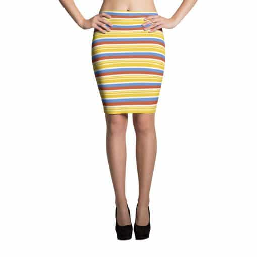 Vintage Yellow Striped Pencil Skirt by Treaja®