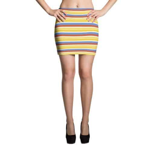 Vintage Yellow Striped Mini Skirt by Treaja® | 70s Style Pencil Mini Skirt
