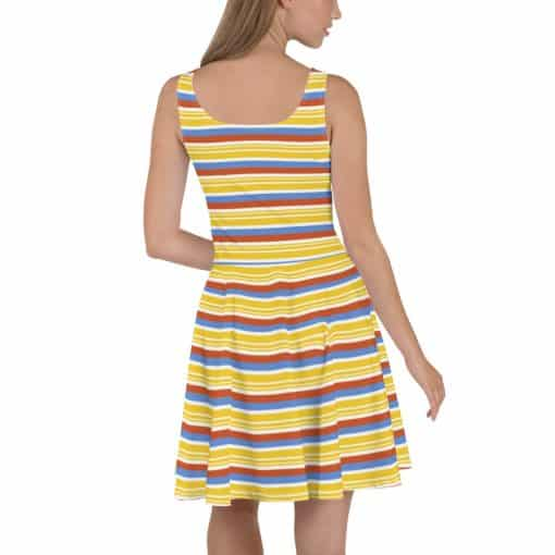 Vintage Yellow Striped Skater Dress by Treaja® | 70s Style Fit and Flare Dress