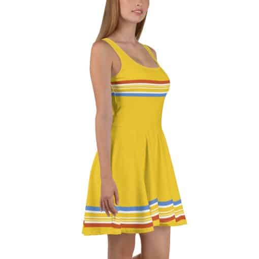 Women's Vintage Yellow Stripe Skater Dress by Treaja® | Striped 70s Style Fit and Flare Dress