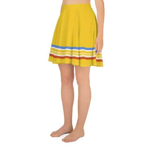 Vintage Yellow Stripe Skater Skirt by Treaja® | 70s Style Striped Skater Skirt
