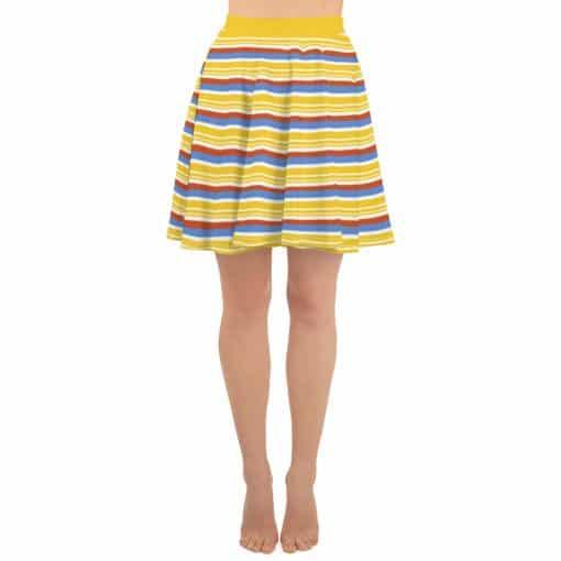 Vintage Yellow Striped Skater Skirt by Treaja® | 70s Style Skater Skirt