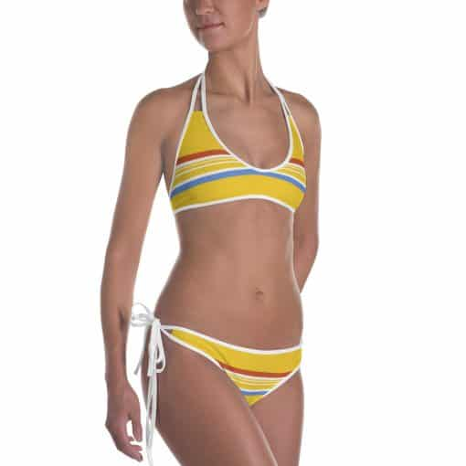 Vintage Yellow Striped Reversible Bikini by Treaja®