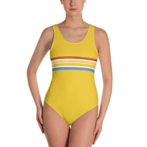 Vintage Yellow Stripe One-Piece Swimsuit by Treaja®