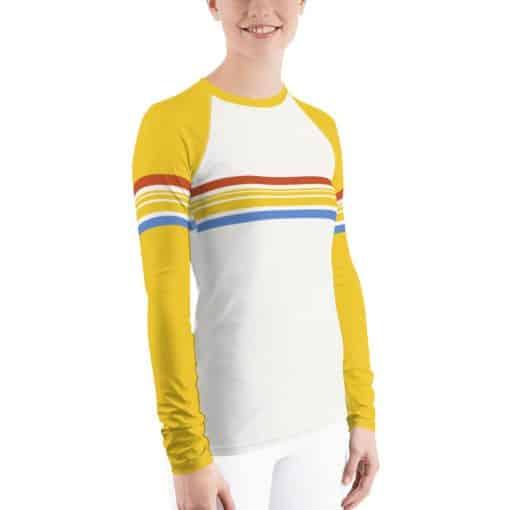 Women's Vintage Yellow Striped Rash Guard by Treaja®
