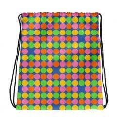 Neon Polka Dot 60s Style Drawstring bag by Treaja®