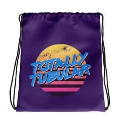 Totally Tubular Drawstring Bag Retro 80s Style by Treaja®