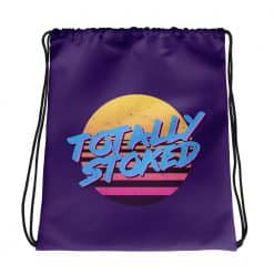 Totally Stoked Drawstring Bag Retro 80s Style by Treaja®
