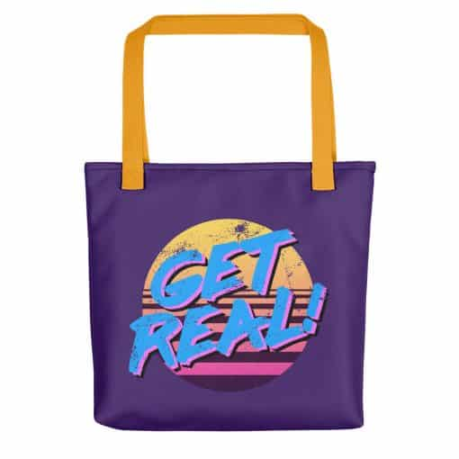 Get Real Tote Bag by Treaja® | Retro 80s Style Tote Bag