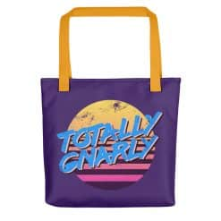 Totally Gnarly Tote Bag by Treaja® | Purple 80s Style Tote Bag
