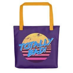 Totally Bad Tote Bag by Treaja® | Purple 80s Style Tote Bag