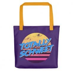 Totally Schweet Tote Bag by Treaja® | Purple Retro 80s Style Tote Bag