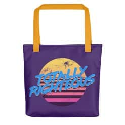 Totally Righteous Tote Bag Retro 80s Style by Treaja® | 80s Style Print Tote Bag
