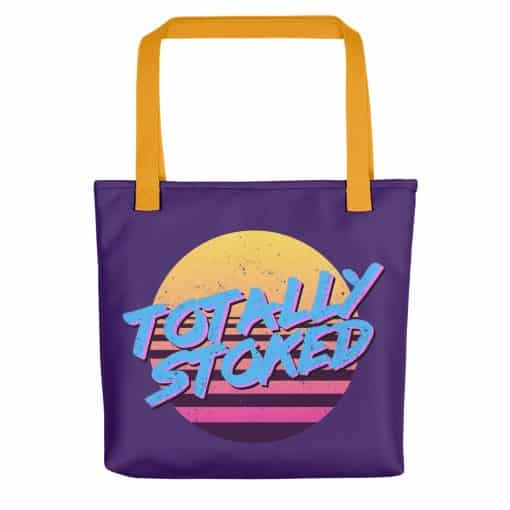 Totally Stoked Tote Bag Retro 80s Style by Treaja® | 80s style Print Tote Bag