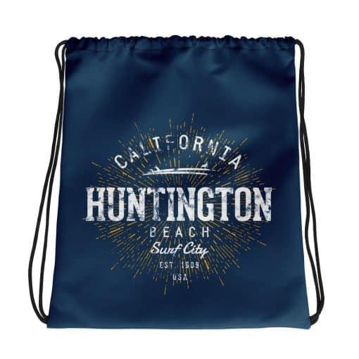 Huntington Beach Drawstring Bag Vintage Retro Style by Treaja® | Vintage Sackpack