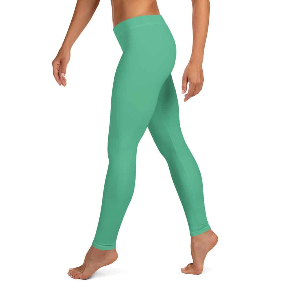 Christmas Green Leggings by Treaja®   Solid Color Leggings for Women