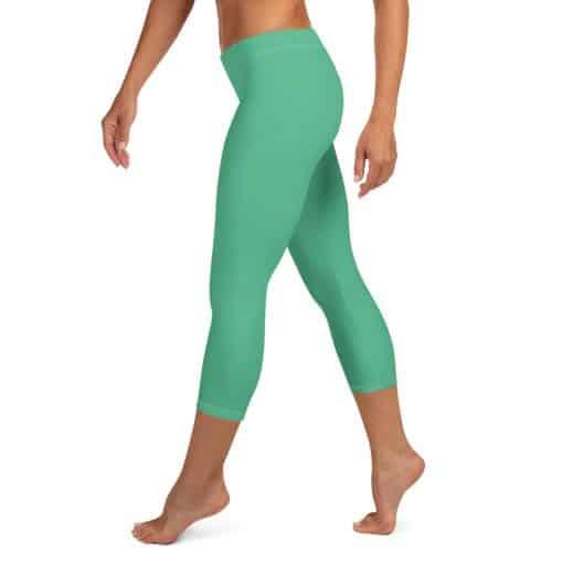 Christmas Green Capri Leggings by Treaja® | Solid Color Capri Leggings for Women