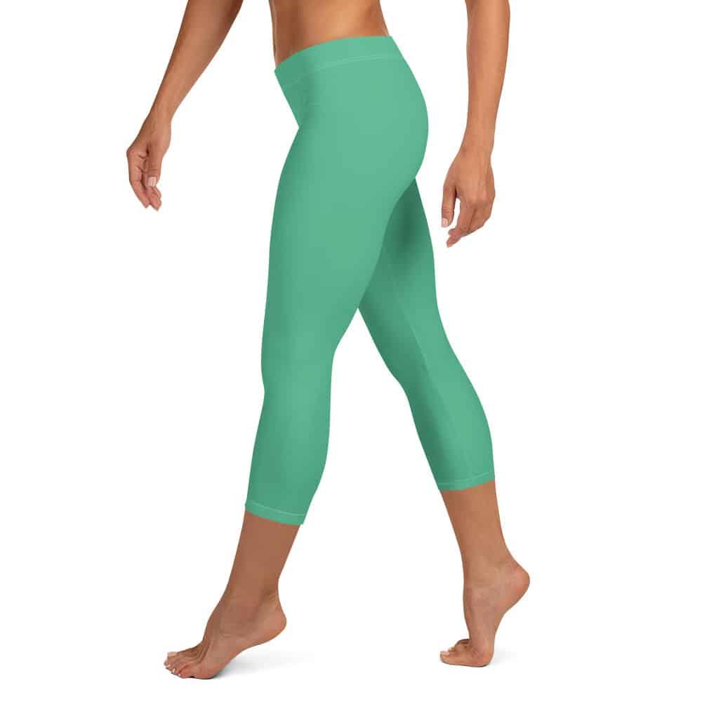 Christmas Green Capri Leggings by Treaja®   Solid Color Capri Leggings for Women