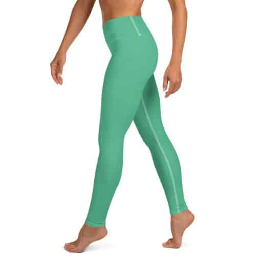 Christmas Green Yoga Leggings by Treaja® | Solid Color High Waisted Leggings for Women