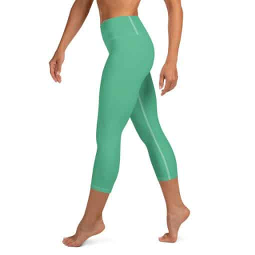 Christmas Green Yoga Capri Leggings by Treaja® | Solid Color High Waisted Capri Leggings for Women
