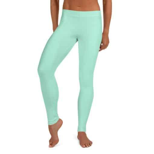 Mint Green Leggings by Treaja® | Solid Color Leggings for Women