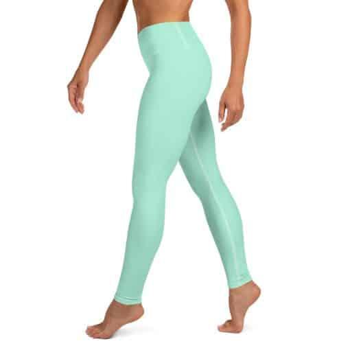 Mint Green Yoga Leggings by Treaja® | Solid Color High Waisted Leggings for Women