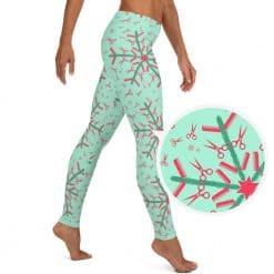 Hairdresser Leggings Mint Christmas Snowflake Pattern by Treaja®