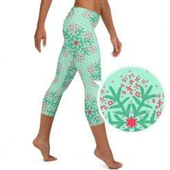 Math Capri Leggings Mint Christmas Snowflake Pattern by Treaja®