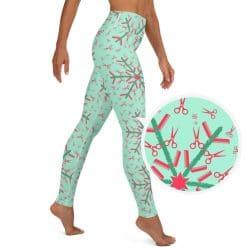Hairdresser Yoga Leggings Mint Christmas Snowflake Pattern by Treaja® | Hairstylist Christmas High Waisted Leggings for Women