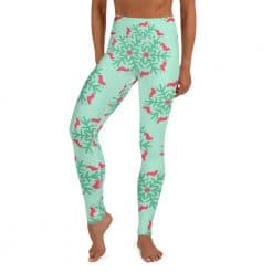 Corgi Yoga Leggings Mint Christmas Snowflake Pattern by Treaja® | Corgis Christmas High Waisted Leggings for Women